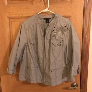 Lane Bryant gray/silver jacket with embroidery